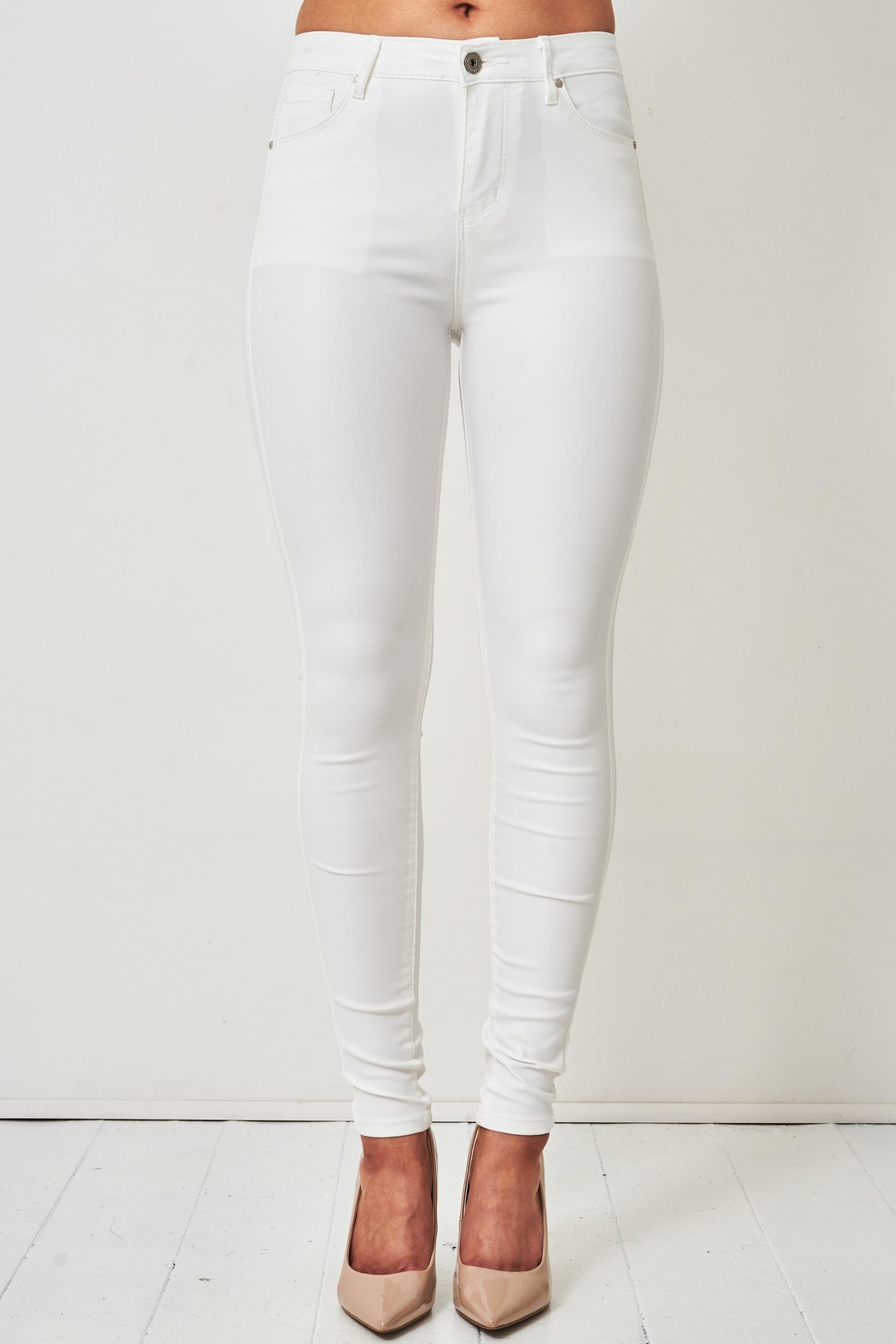 frontrow White Wax-Coated Jeans - Main Image