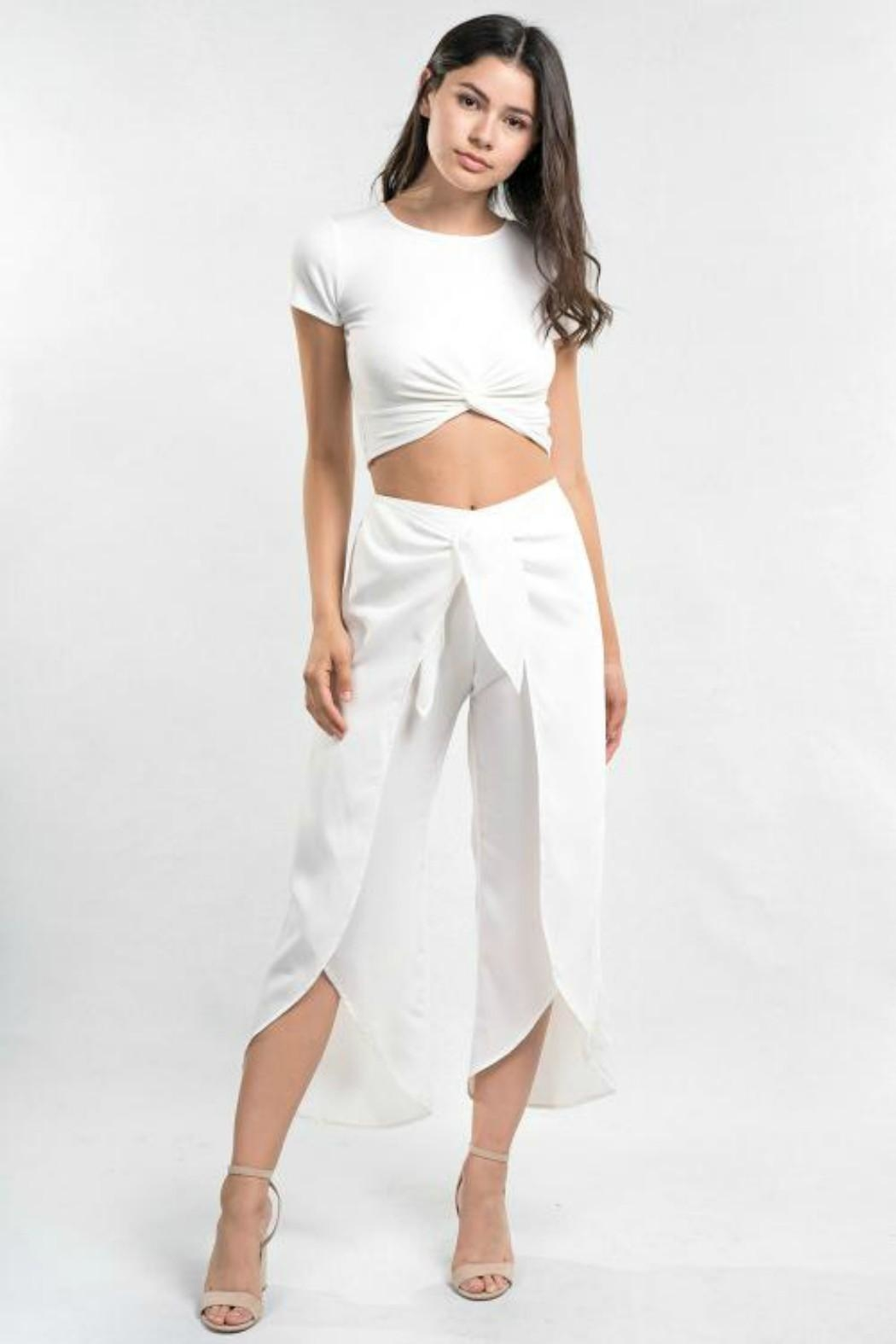 Love Stitch White Wrap Pant - Main Image