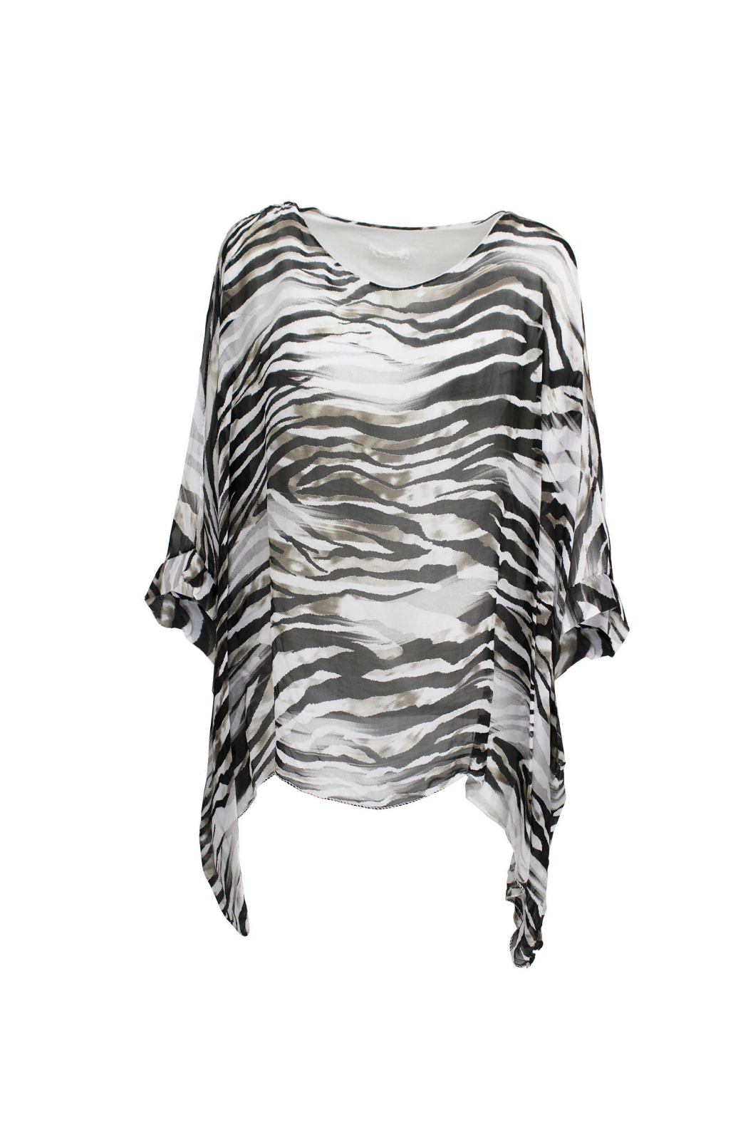 M made in Italy White Zebra Batwing Top - Front Full Image