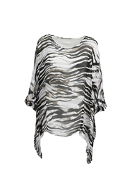 M made in Italy White Zebra Batwing Top - Front full body