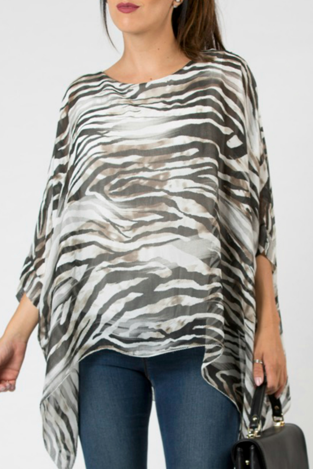 M made in Italy White Zebra Batwing Top - Main Image