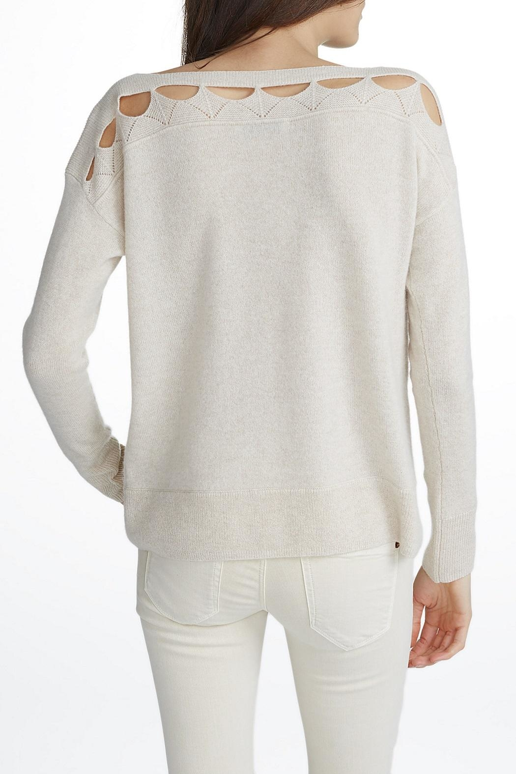 White + Warren Cashmere Cut Out Top - Front Full Image