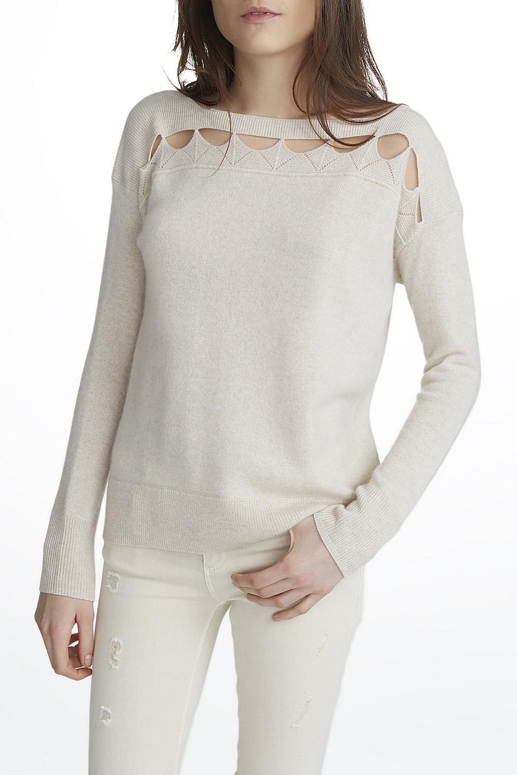 White + Warren Cashmere Cut Out Top - Main Image
