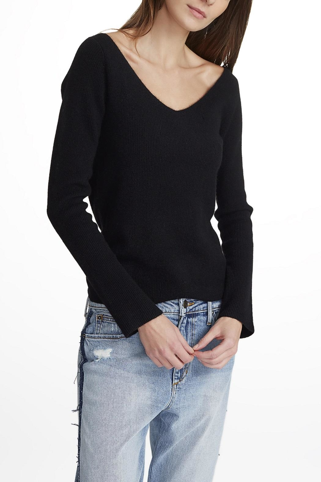 White + Warren Cashmere V Neck Sweater - Front Cropped Image