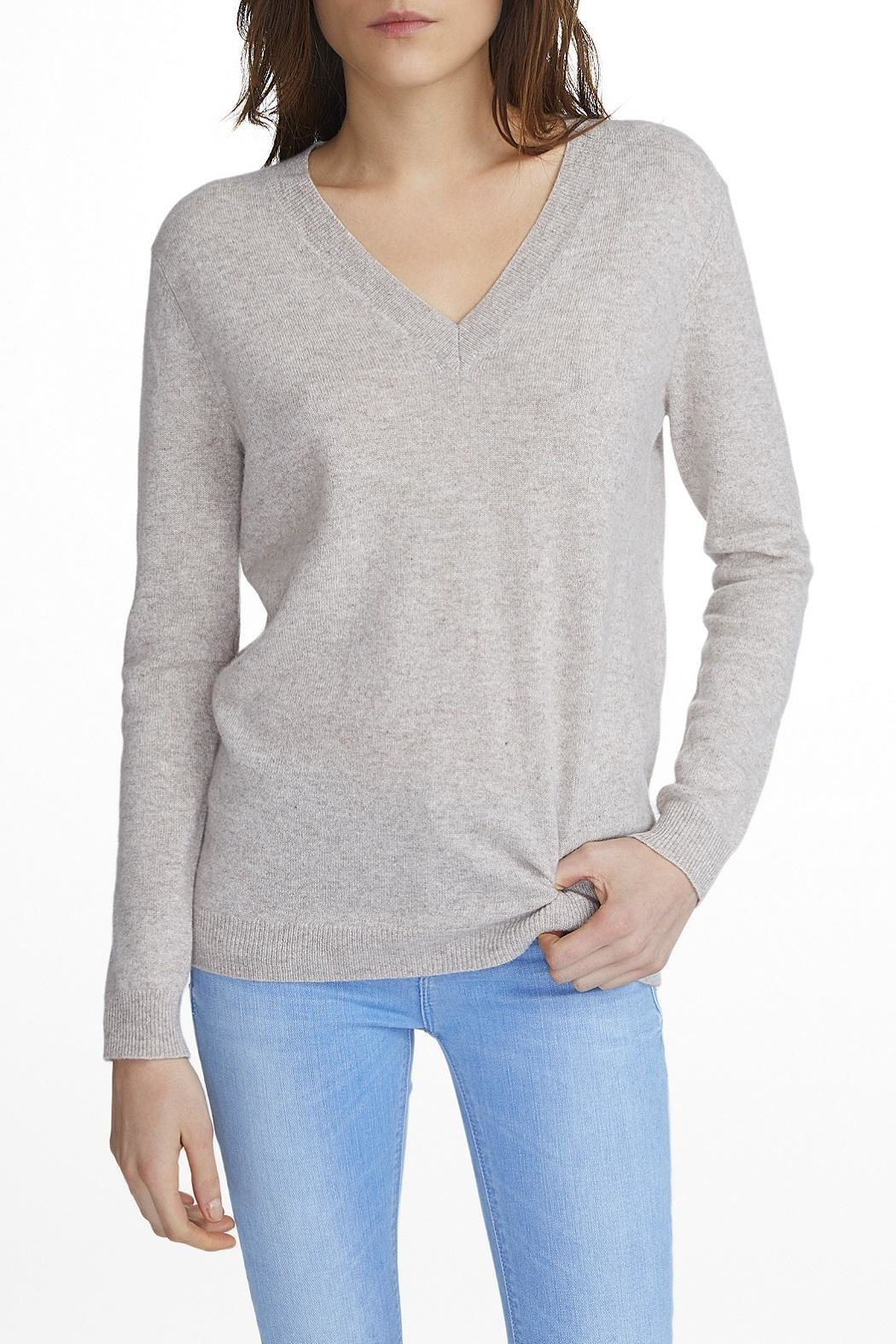 White + Warren Cashmere V-Neck Sweater - Front Cropped Image