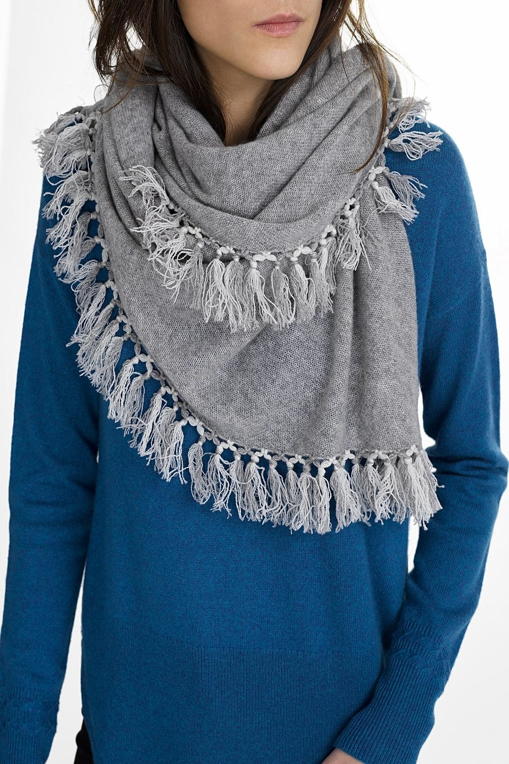 White + Warren Fringe Triangle Scarf - Front Cropped Image