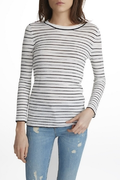 White + Warren Space Dye Stripe Top - Alternate List Image