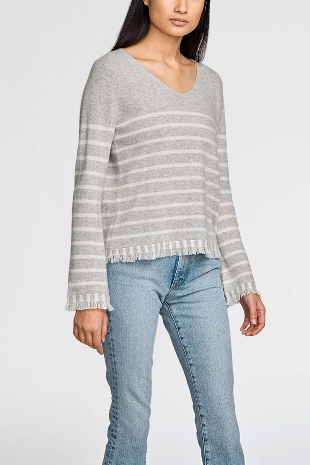 White + Warren Striped Fringe V-Neck Sweater - Front Cropped Image