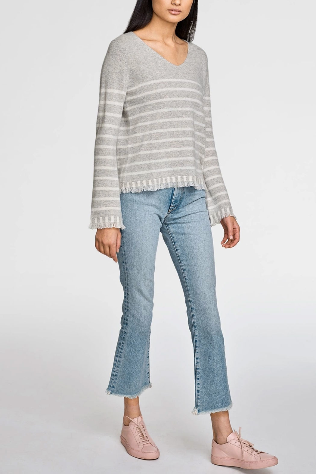 White + Warren Striped Fringe V-Neck Sweater - Front Full Image