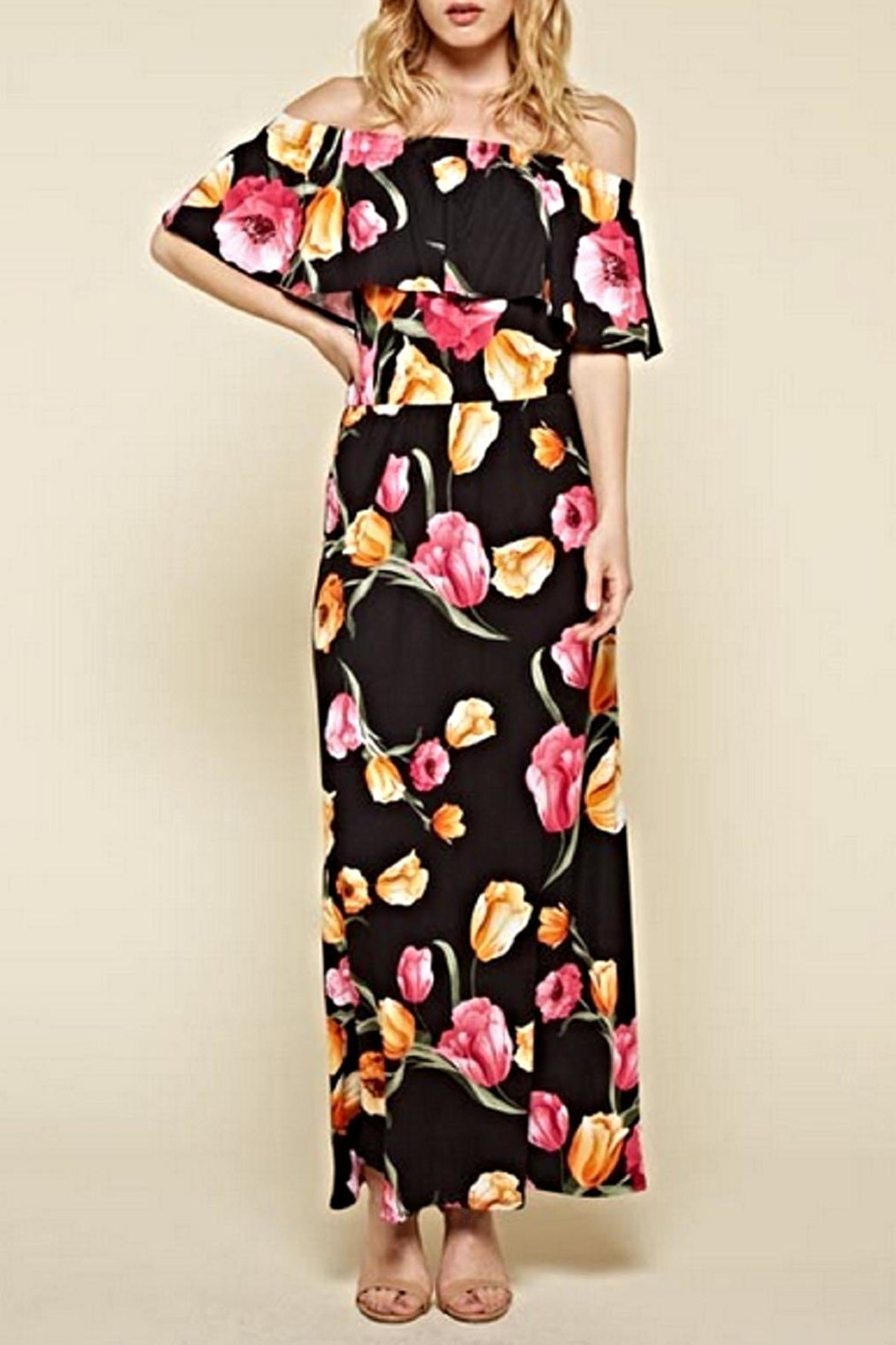 White Birch Black Floral Maxi Dress - Main Image