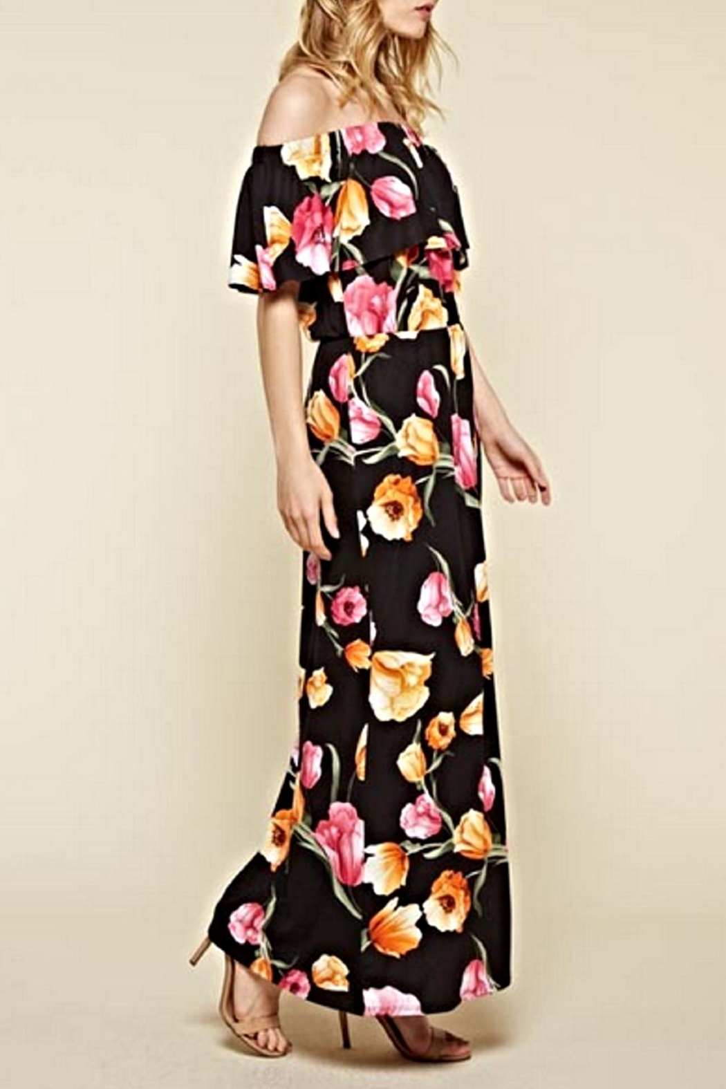 White Birch Black Floral Maxi Dress - Front Full Image