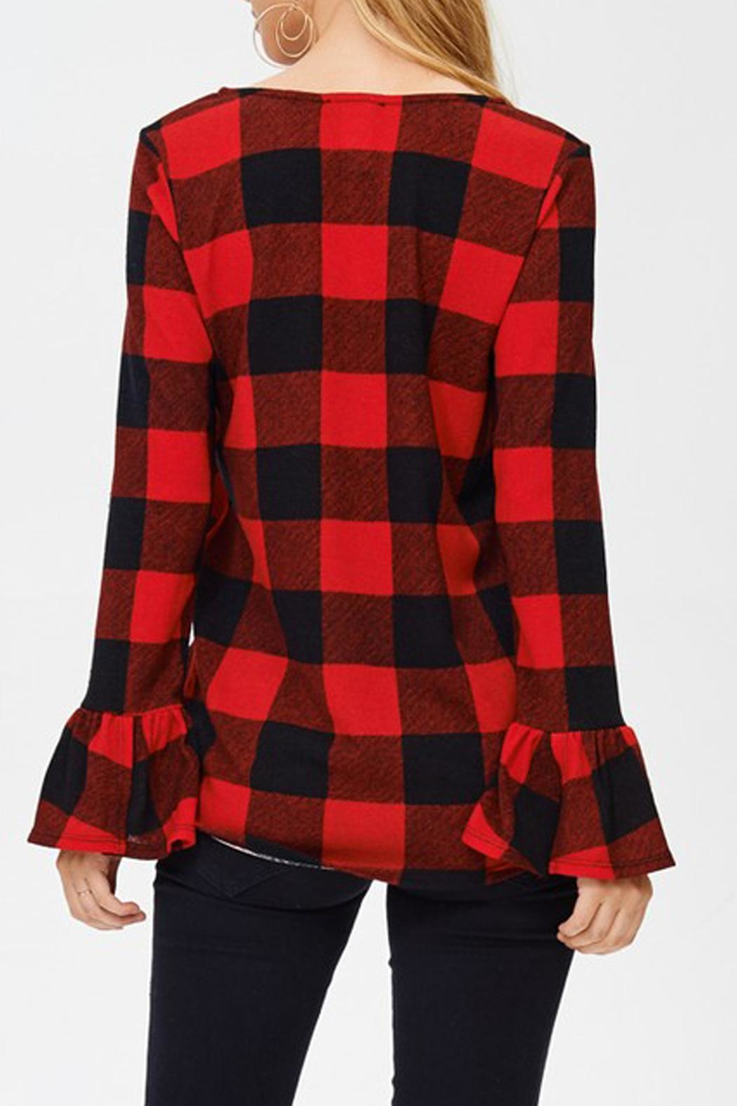 White Birch Buffalo Plaid Top - Front Full Image