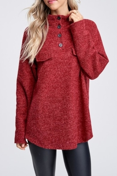 White Birch Burgundy Pockets Sweater - Product List Image
