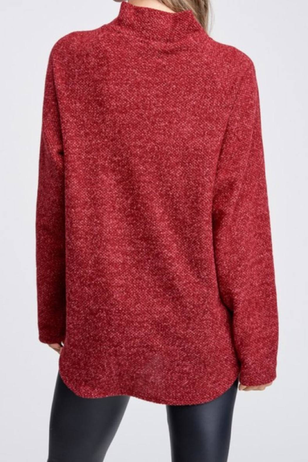 White Birch Burgundy Pockets Sweater - Side Cropped Image