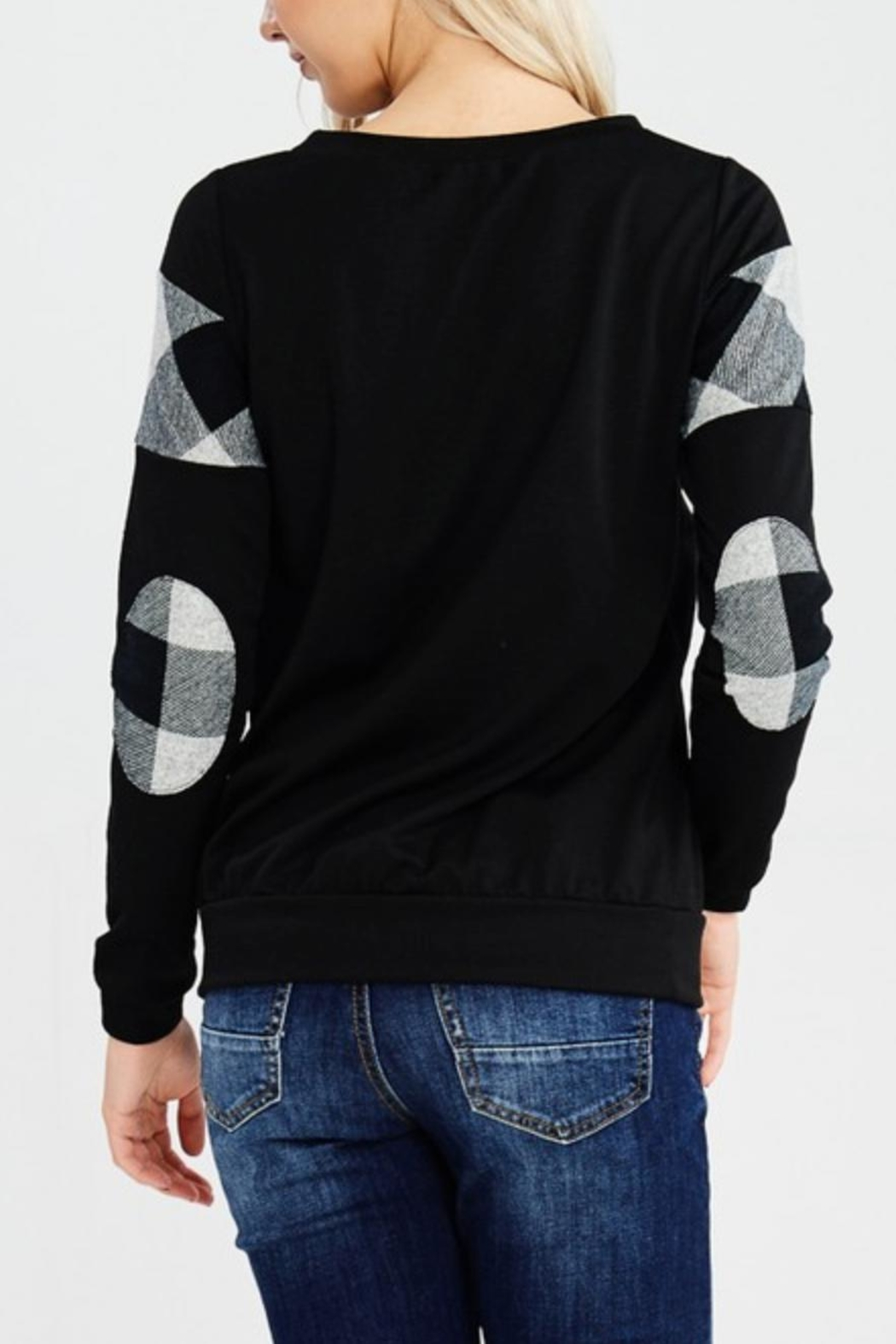 White Birch Elbowpatch Plaid Sweater - Front Full Image