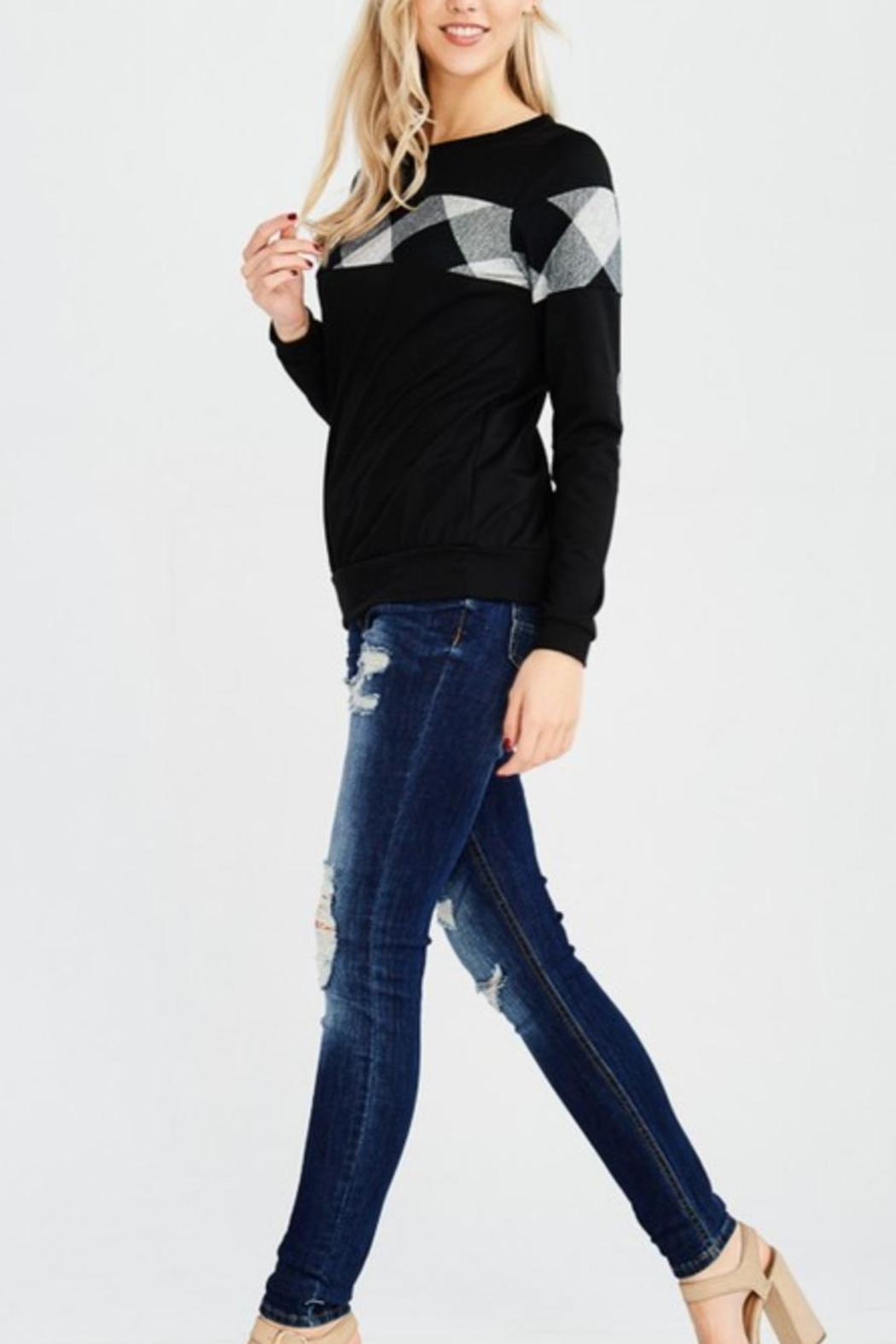 White Birch Elbowpatch Plaid Sweater - Side Cropped Image