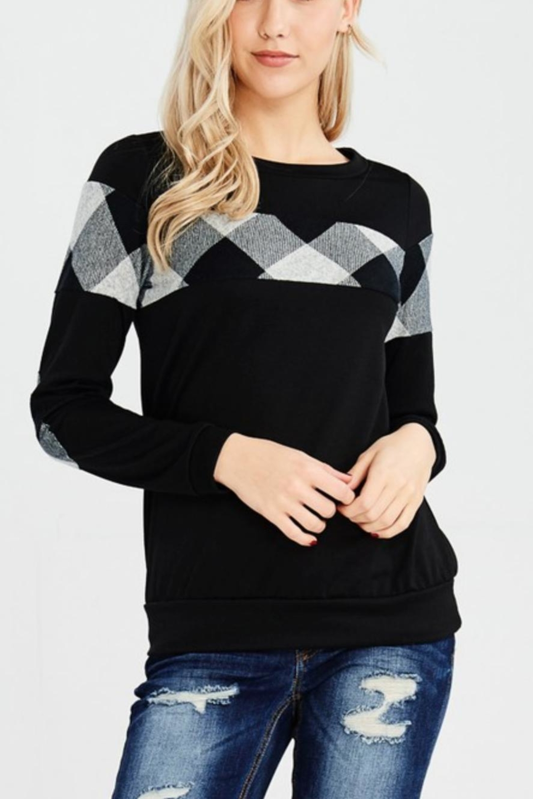 White Birch Elbowpatch Plaid Sweater - Main Image