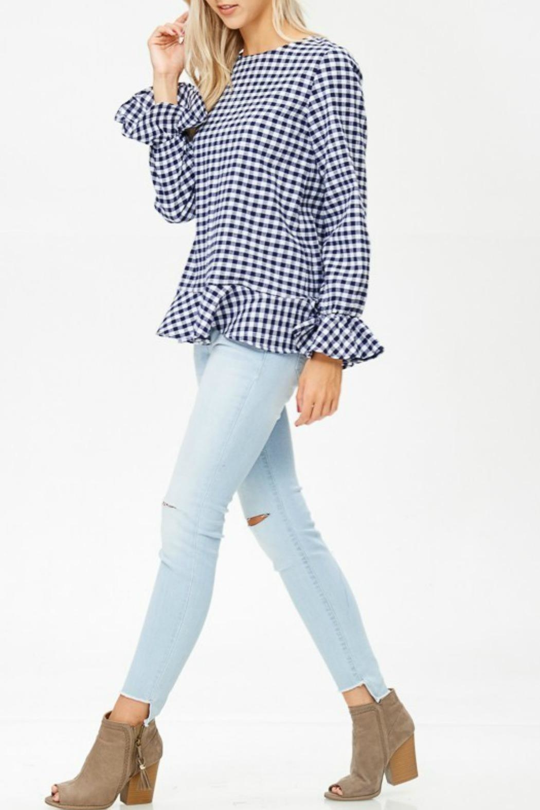 White Birch Haley Gingham Top - Side Cropped Image