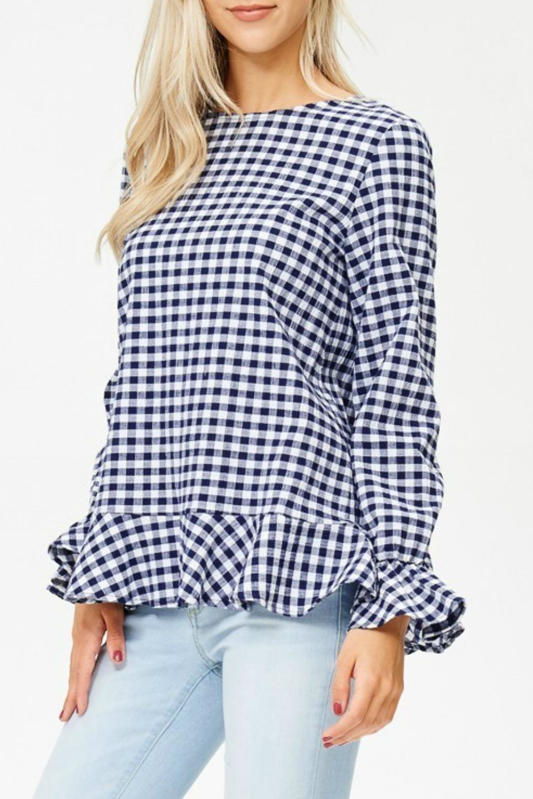 White Birch Haley Gingham Top - Front Full Image