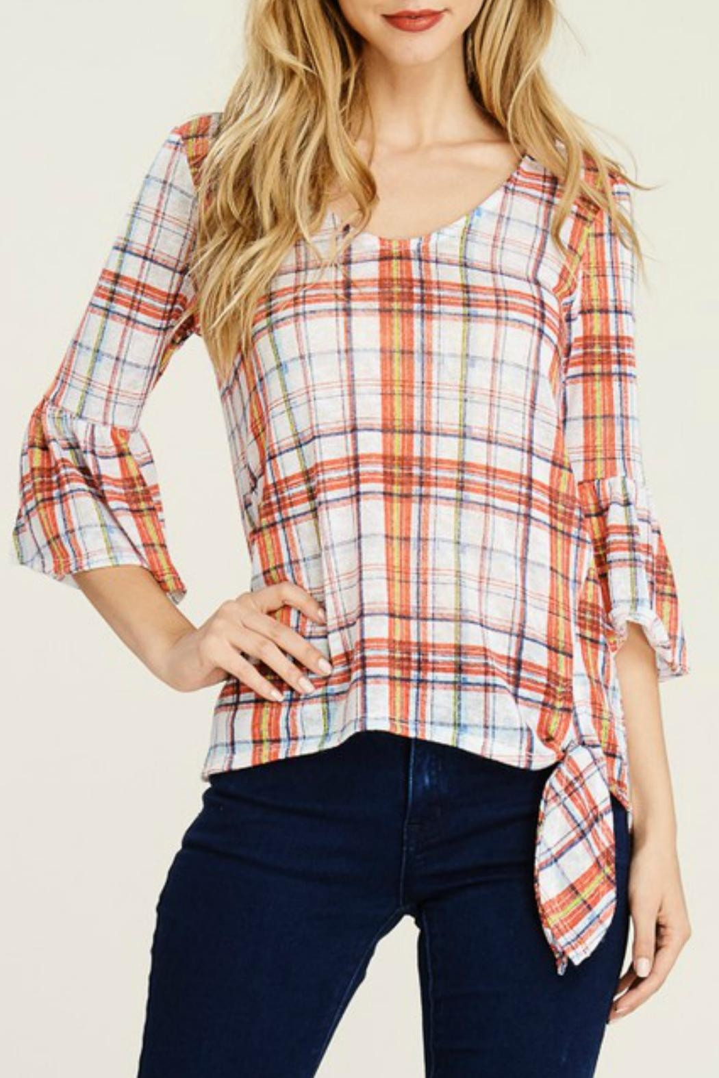 White Birch Plaid Bell Sleeve - Front Cropped Image