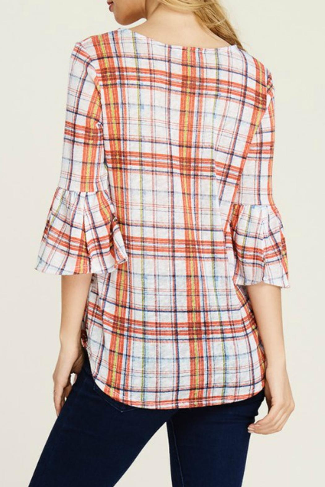White Birch Plaid Bell Sleeve - Front Full Image