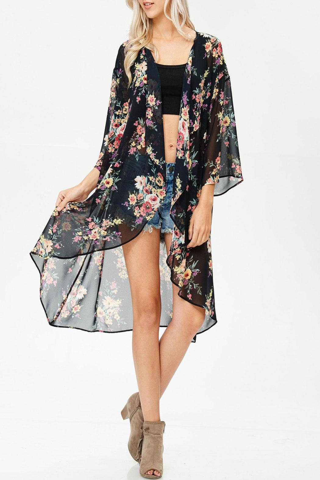 White Birch Rose Ruffled Kimono - Main Image