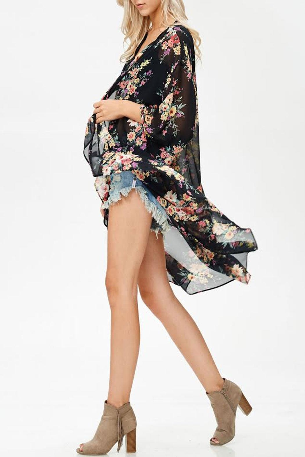 White Birch Rose Ruffled Kimono - Side Cropped Image