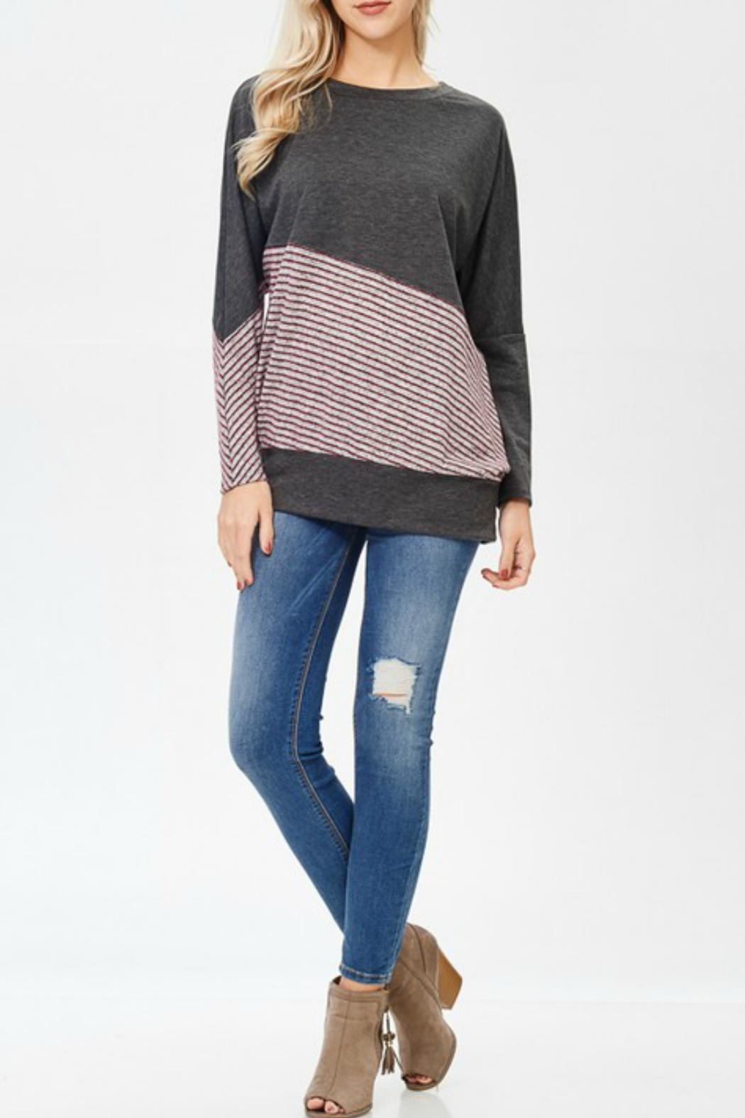 White Birch Striped Sweater Love - Front Cropped Image