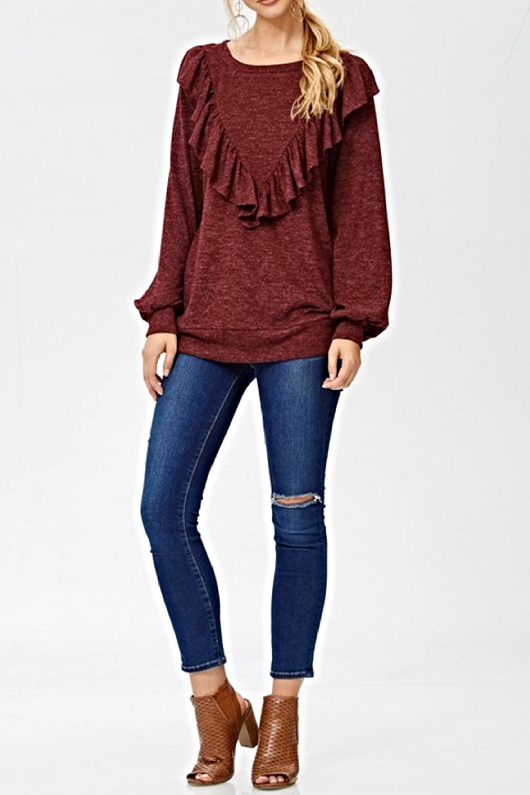 White Birch The Kaia Sweater - Back Cropped Image