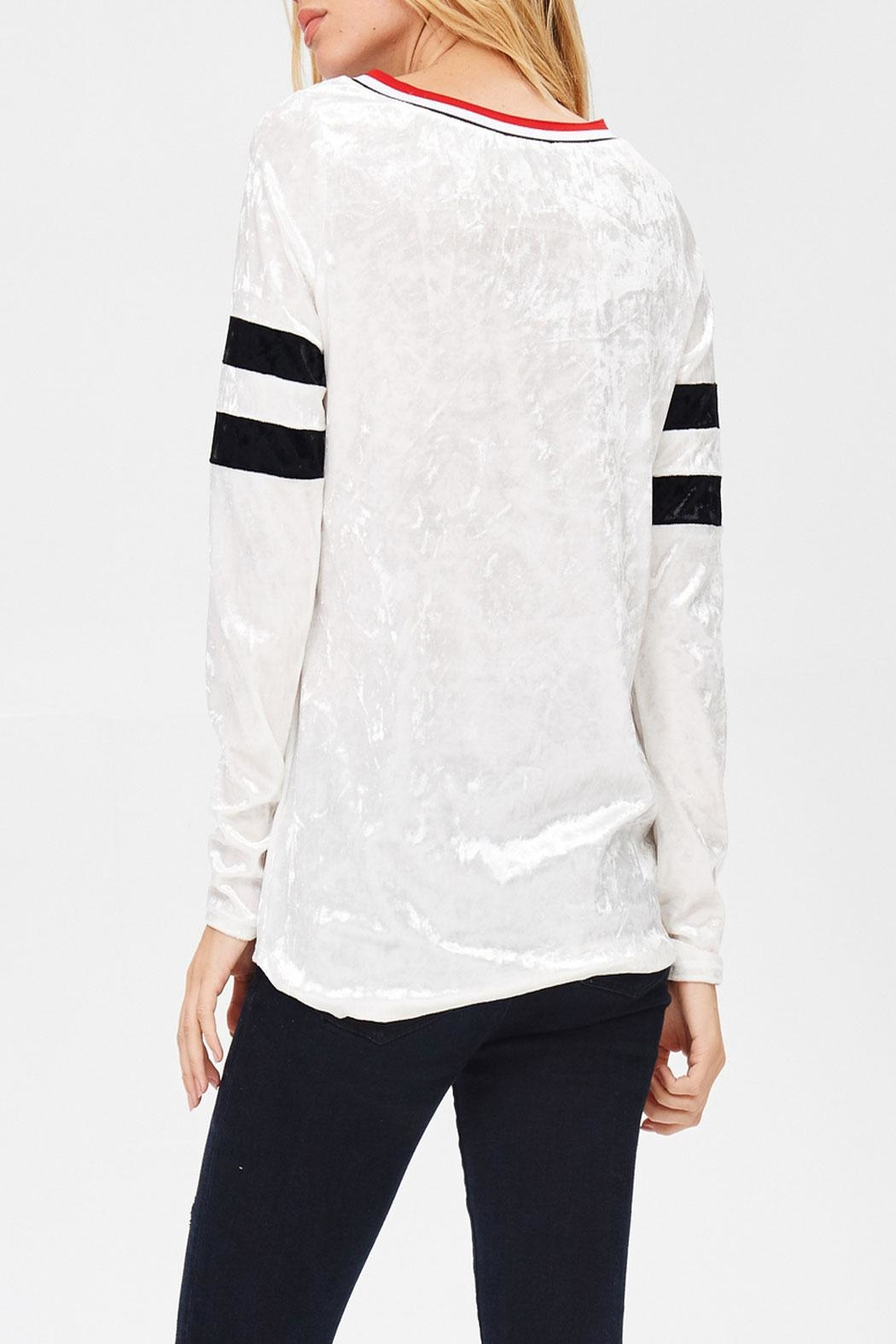 White Birch Varsity Velvet Top - Side Cropped Image