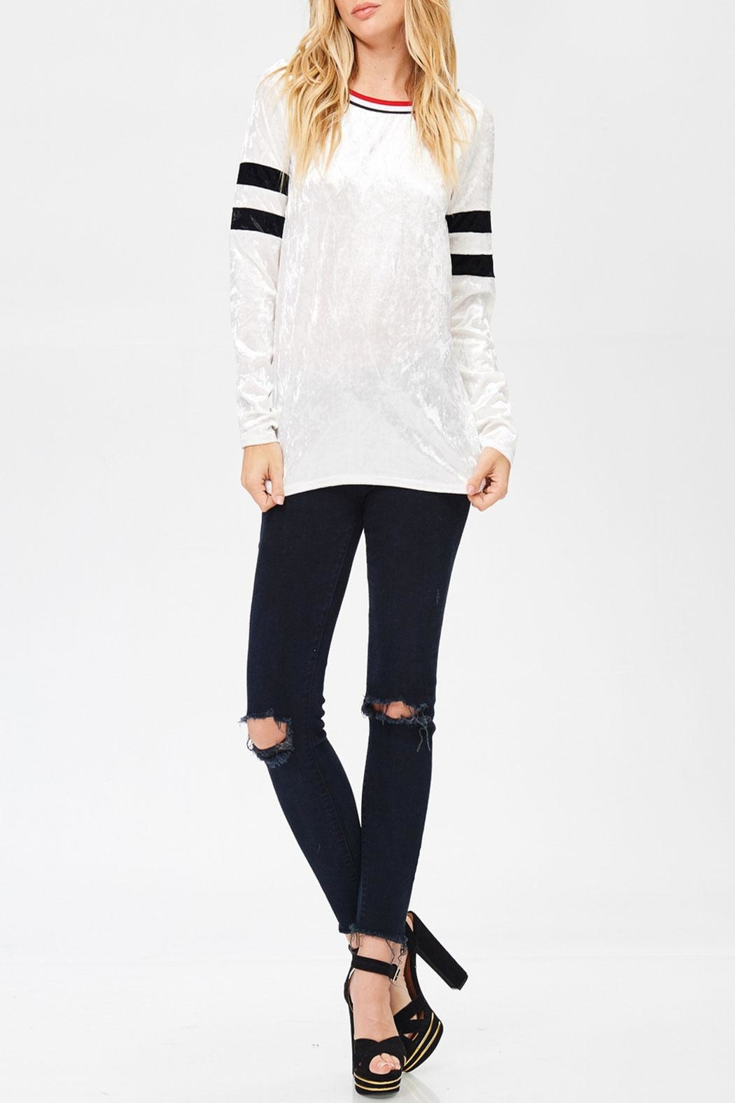 White Birch Varsity Velvet Top - Front Cropped Image