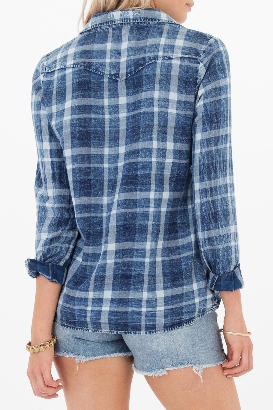 White Crow Blue Plaid Top - Front Full Image