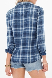 White Crow Blue Plaid Top - Front full body
