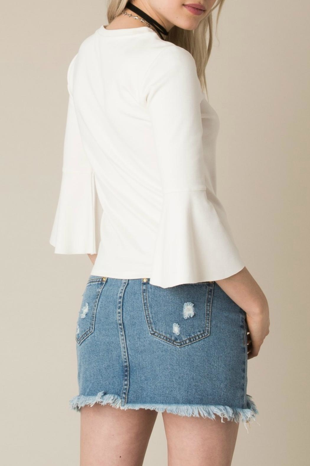 White Crow Cherish Bell-Sleeve Top - Front Full Image