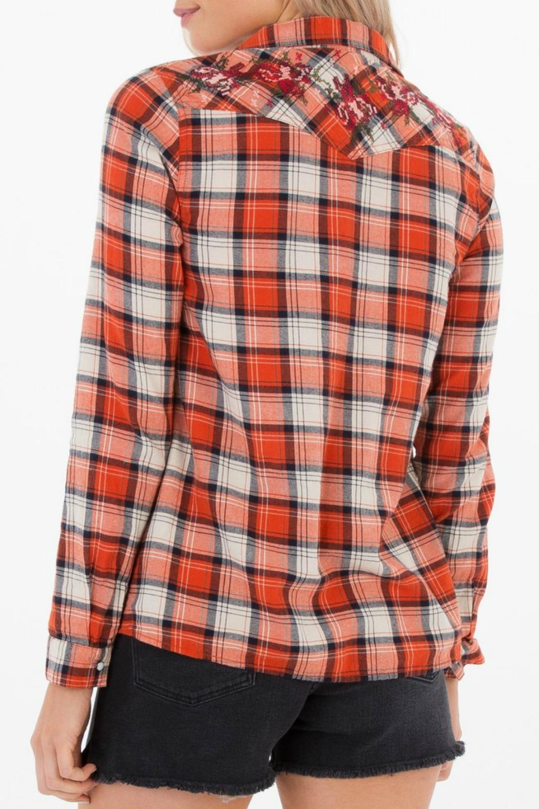 White Crow Embroidered Plaid Shirt - Front Full Image