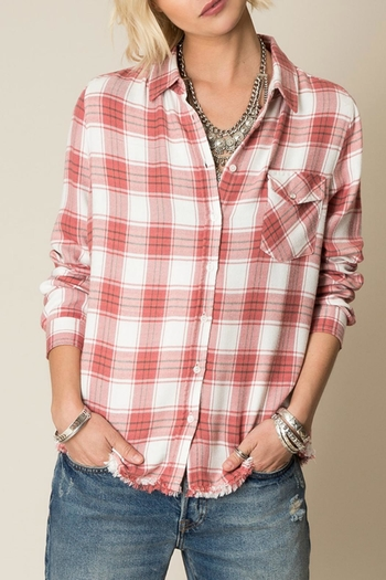 Shoptiques Product: Frayed Hem Flannel Top - main