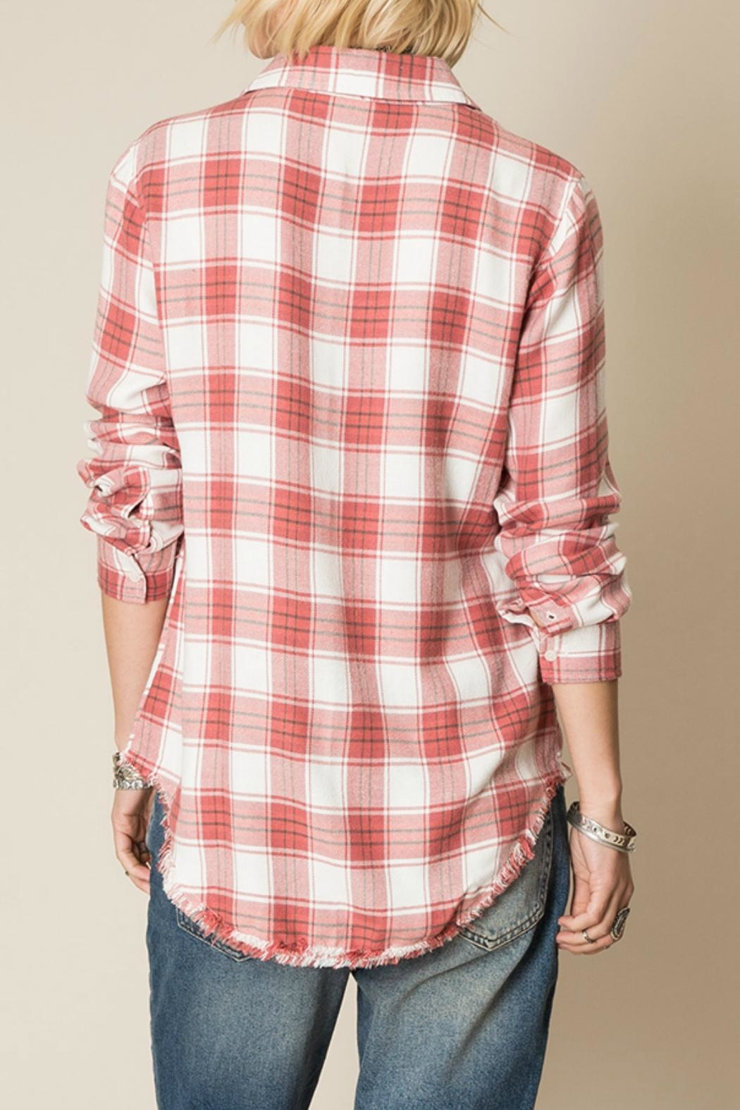 White Crow Frayed Hem Flannel Top - Front Full Image