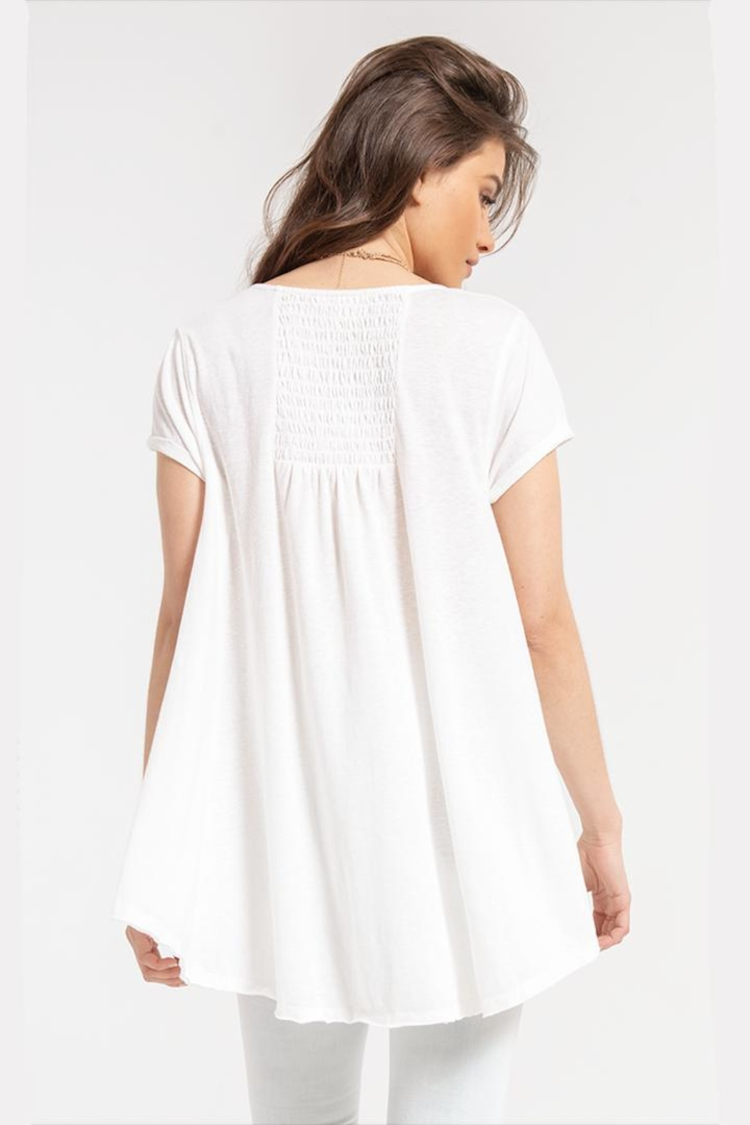 White Crow Gather-Back White Tunic - Front Full Image