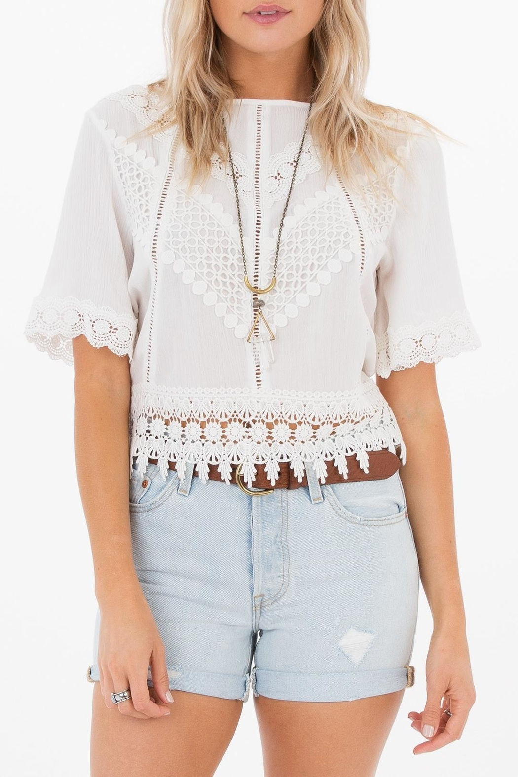 White Crow Gracie Crochet Top - Front Cropped Image