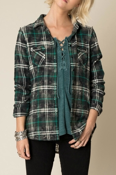 White Crow Lace Back Flannel Top - Product List Image