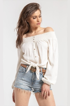 White Crow Off-Shoulder Tie-Front Top - Product List Image