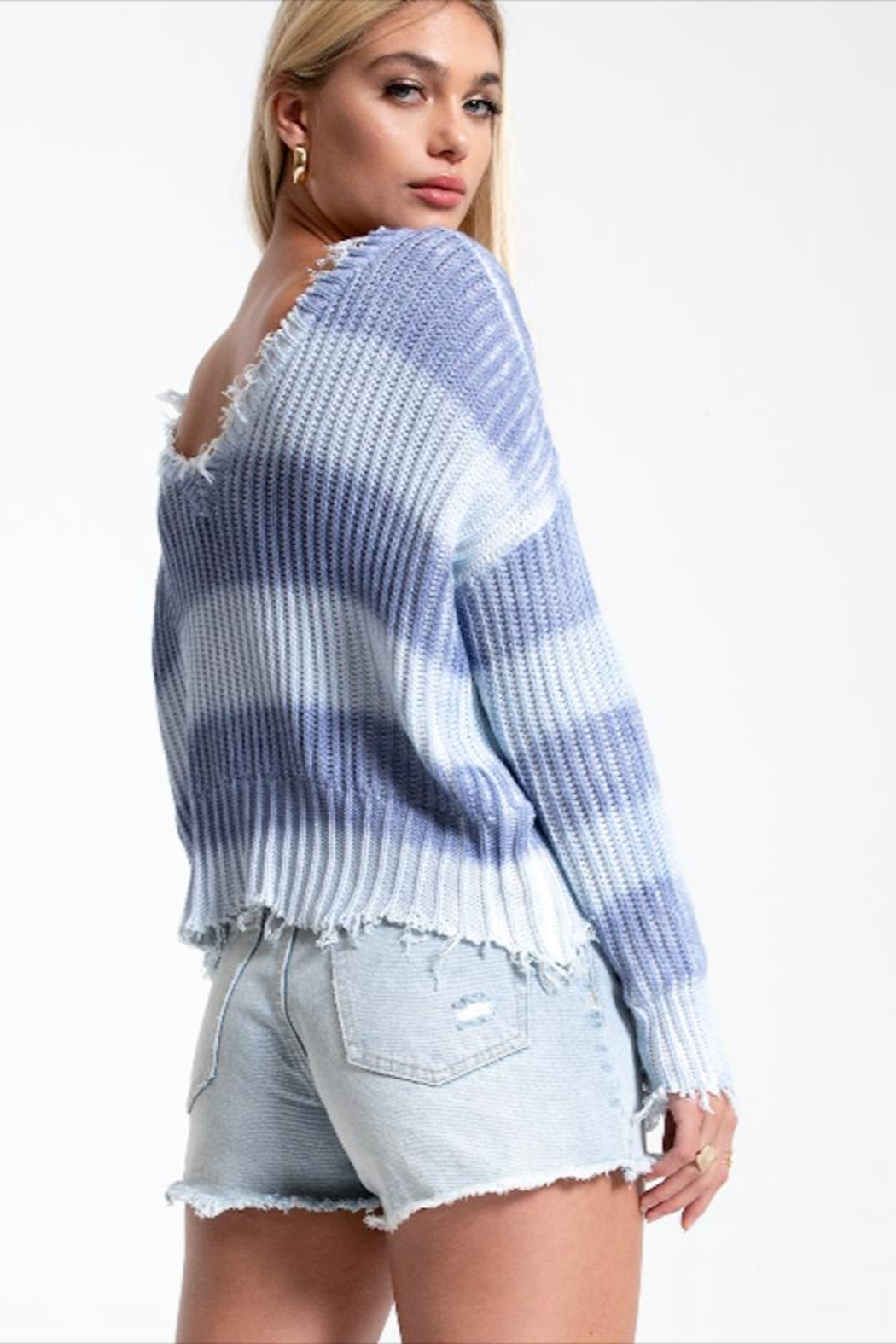 White Crow Periwinkle Fade Sweater - Side Cropped Image