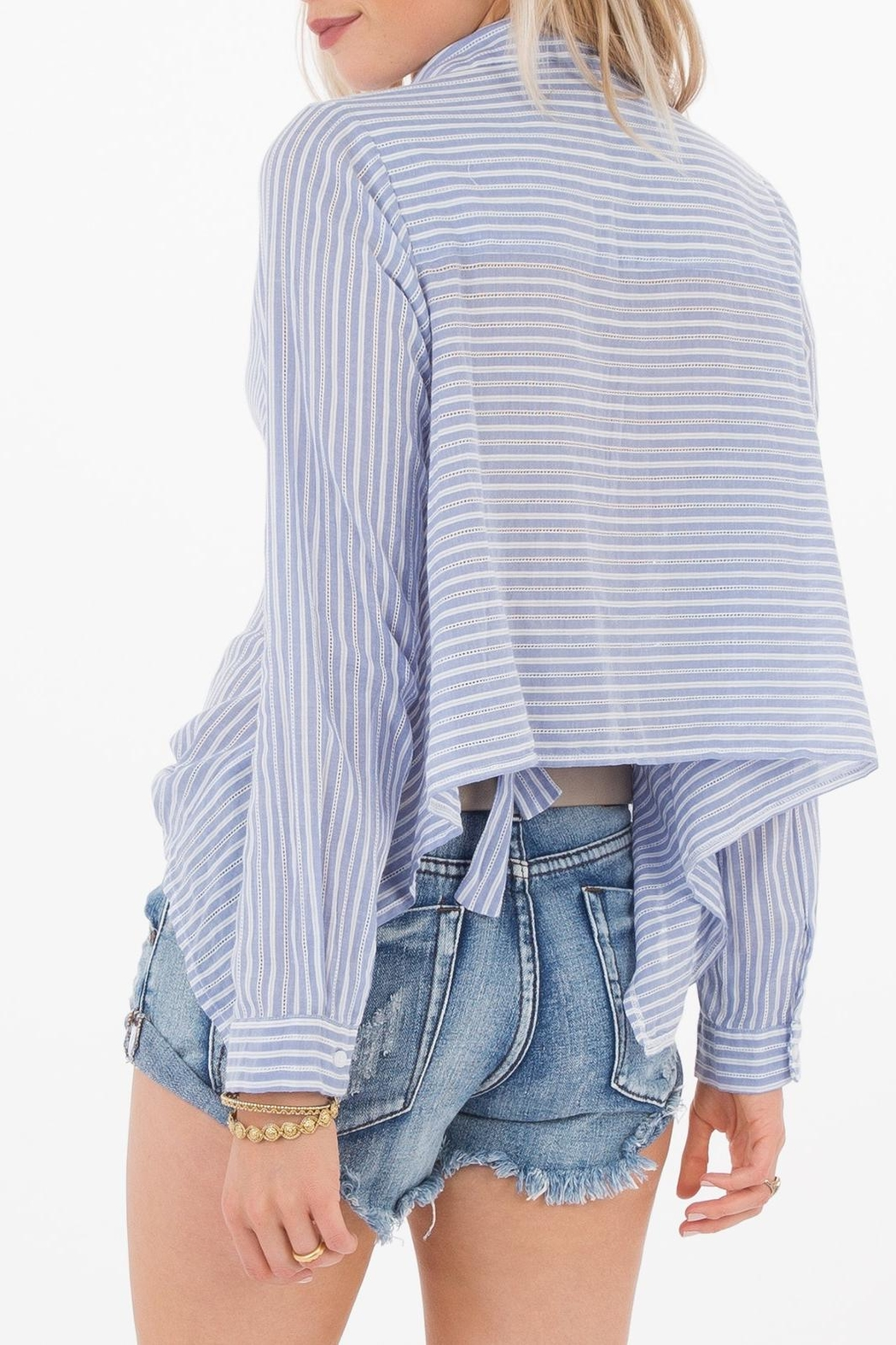 White Crow Striped Collared Shirt - Front Full Image