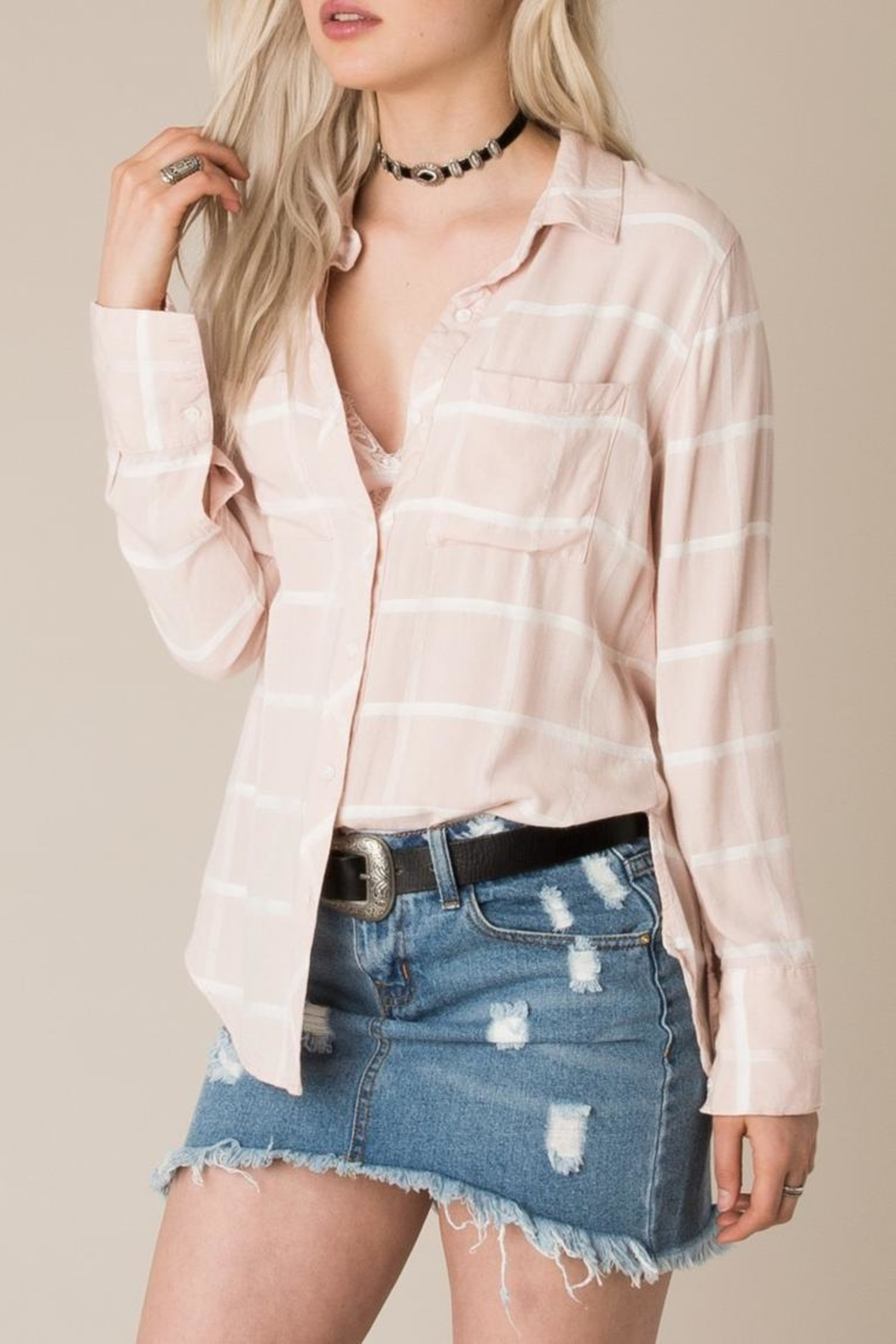White Crow Tie Back Plaid Shirt Top - Front Full Image