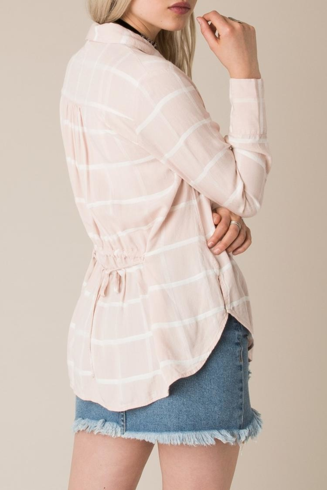 White Crow Tie Back Plaid Shirt Top - Side Cropped Image