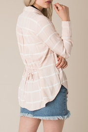 White Crow Tie Back Plaid Shirt Top - Side cropped