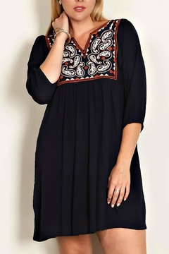 White Mark Embroidered Navy Dress - Product List Image