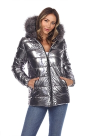 White Mark Metallic Silver Puffer Coat With Hoodie - Product Mini Image