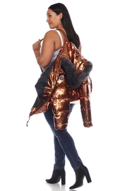 White Mark Plus Size Metallic Black Puffer Coat With Hoodie - Other