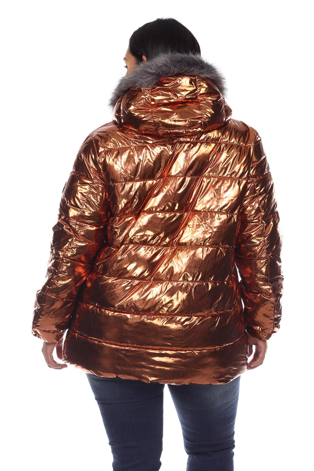 White Mark Plus Size Metallic Black Puffer Coat With Hoodie - Side Cropped Image